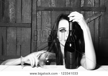 Sexy Woman With Wine