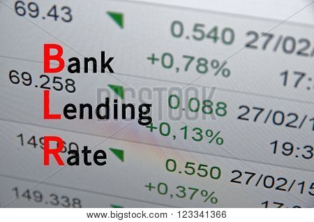 Acronym BLR as Bank Lending Rate. The financial data visible in the background.
