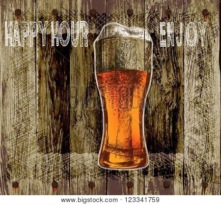 glass of beer with foam. wood background beer happy hour-enjoy.vector illustration