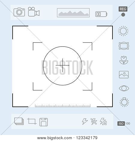 Camera viewfinder display, Exposure and composition focus, electronic zoom,  portrait,  macro vector