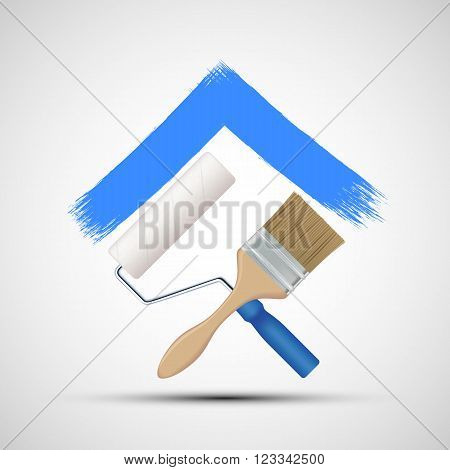Paint roller and paintbrush. Icon Construction. Stock vector illustration.