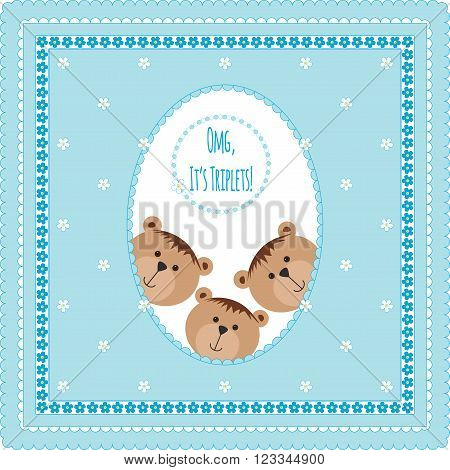 Three happy baby triplets. Baby arrival announcement card . Triplets baby boys  shower card, cute newborn baby triplets. Teddy bears, kid style greeting card vector  background