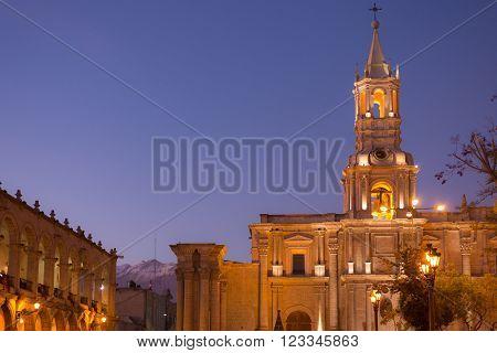 Arequipa, Peru: Main Square And Cathedral At Dusk