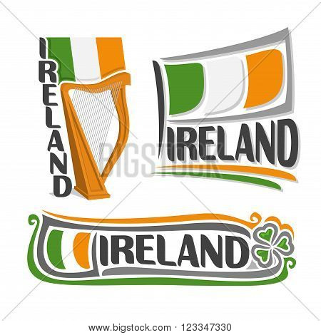 Vector illustration of the logo for Ireland, consisting of 3 isolated illustrations: state flag above the harp, symbol of Ireland and the flag on background of leaf green clover
