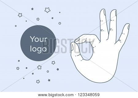 Vector OK hand gesture. All right hand drawn sign. Vector flat illustration. Isolated on white background.