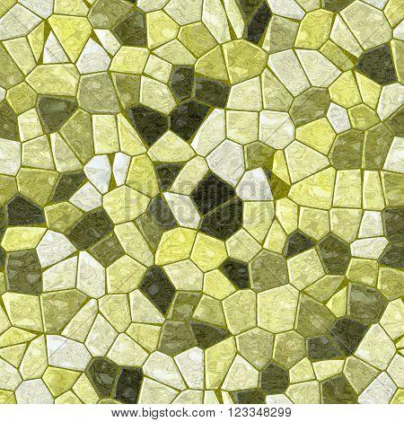 yellow green marble irregular plastic stony mosaic seamless pattern texture background with khaki grout