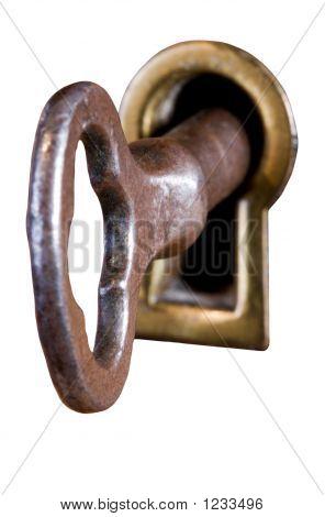 Key In Keyhole - Isolated