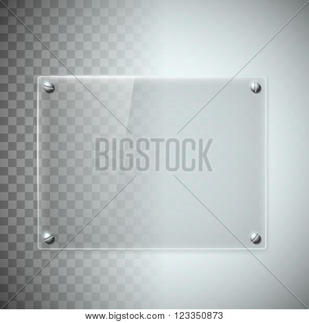 Blank transparent glass plate. Texture of plastic material. Stock vector illustration.