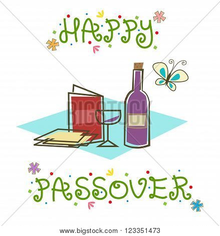 Stylized Passover sign with Passover Seder items. Eps10