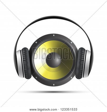 Icon speaker with headphones. Stock vector illustration.