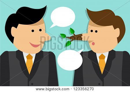 Two businessmen talking. One man grows a long nose like Pinocchio because he lied