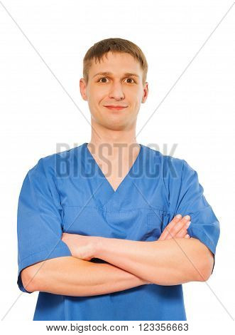 Young happy handsome massage worker in a uniform isolated on white