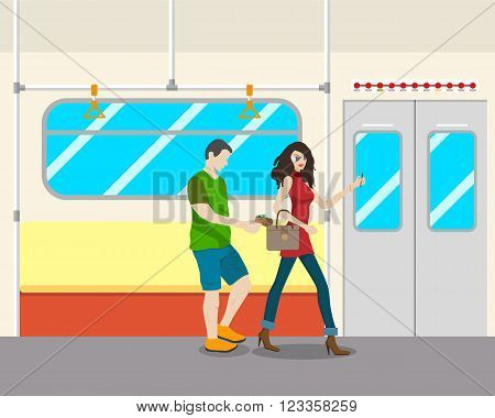 The girl in the transport was distracted by a phone call and a thief stole a purse. Vector illustration