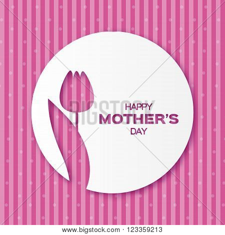 Purple Floral Greeting card - Happy Mother's Day - 8 May- Stripes Background with Spring Tulip. Paper cut Frame Flower. Trendy Design Template for card vip gift voucher present.