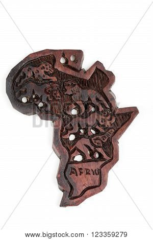 wooden map of continent africa with animals silhouette big five