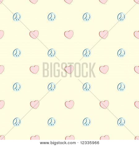Seamless Love And Peace Pattern
