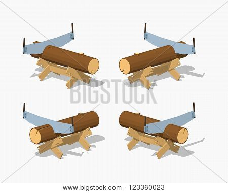 Work bench with the log and handsaw. 3D lowpoly isometric vector illustration. The set of objects isolated against the white background and shown from different sides