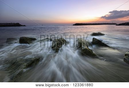 Beach sunset , Beautiful natural summer seascape Thailand .