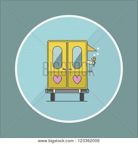 ice cream wagon and heand flat vector illustration
