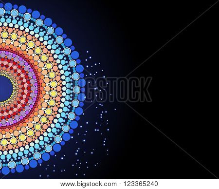 Indian pattern of colored circles on the dark background