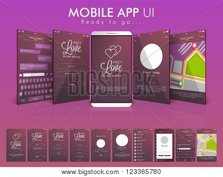 Material Design UI, UX and GUI Screens with Chat, Login, Map, Create Account and Contact List feature for Online Communication and Dating Mobile App, responsive website.