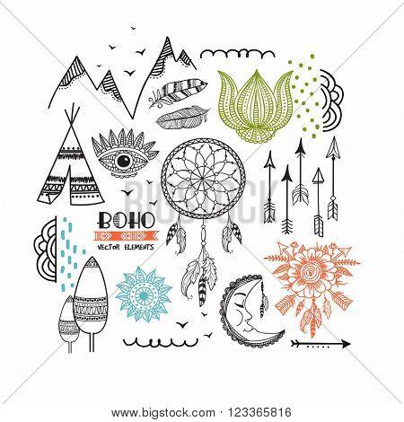 Set of creative ethnic design elements including Boho and Hippie style Dream Catcher, Arrow, Eye, Lotus, Feathers, Moon, Wigwam etc.
