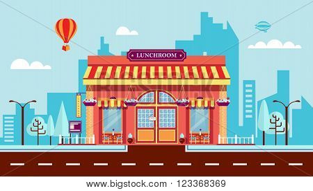 Stock vector illustration city street with cafe in flat style element for infographic, website, icon, games, motion design, video