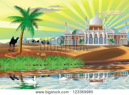 Landscape. Arab Palace in the desert. An oasis in the desert. Vector illustration