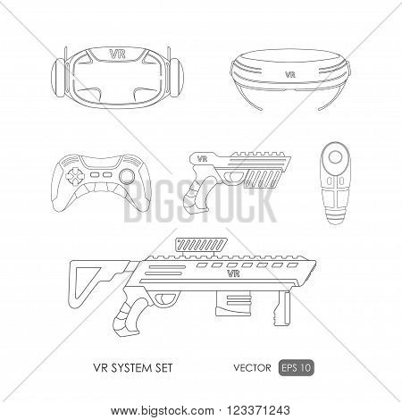 Set of accessories for virtual reality system on white background . VR collection. Outline drawing. Vector illustration