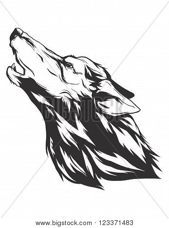 Howling wolf head. Monochromatic logo for your t-shirt.