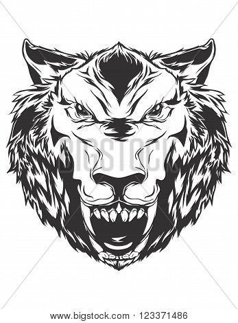Angry wolf head. Monochromatic logo for your t-shirt.