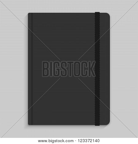Moleskin notebook with black elastic band image poster