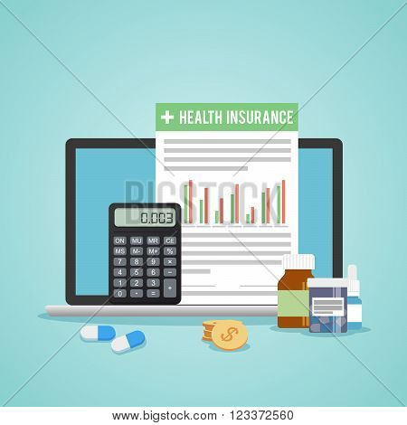 Health insurance form concept. Filling medical documents. Calculator and drugs, money