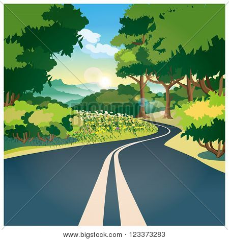 Stylized vector illustration on the theme of the road. Road through the woods