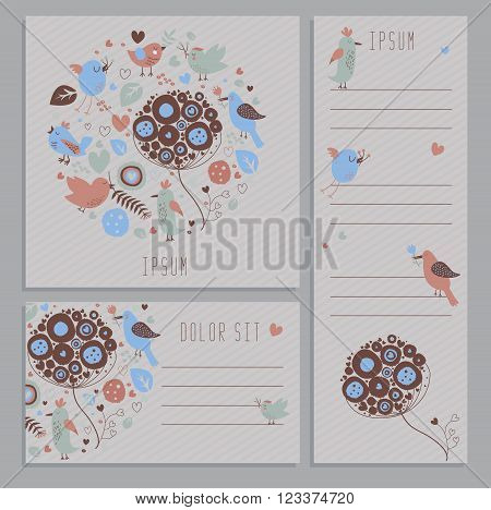 Set of spring banners with hand drawn plants flowers and birds
