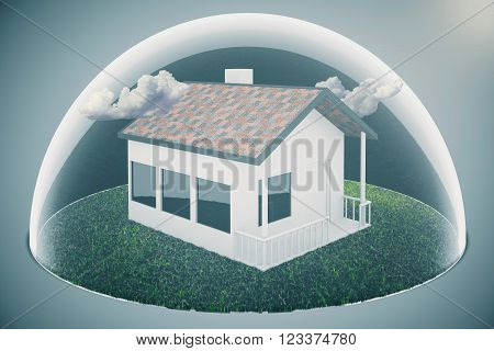 Real estate bubble and clouds on grey background. 3D Render
