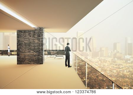Office interior with panoramic city view and businesspeople. 3D Render