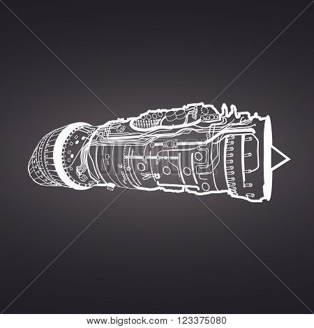 White vector combat air force fighter aircraft engine drawing , on black background. Consists of combustion chamber, intake manifold, guide vanes, pressure compressor, combustor, turbine blade