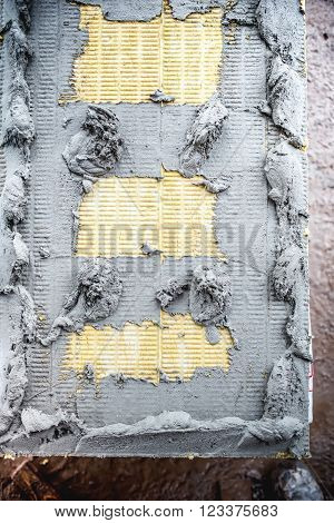top view of insulation panel of mineral wool rock wool with adhesive mortar
