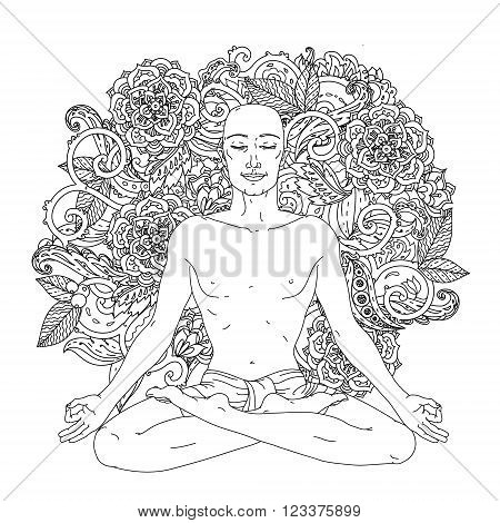 Man in Yoga lotus position for meditation. For the logo yoga studio, postcards, and adult coloring book. In mehendi zent art mandala style at  Floral ornament