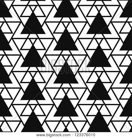 Simple reticulate triangle net shape black and white seamless pattern. Vector geometric monochrome starlight background. Triangle net pattern. Triangle monochrome classic ornament.