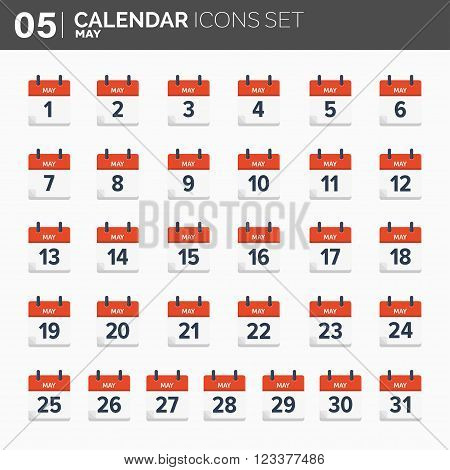 Vector illustration. Calendar icons set.  Date and time.  Maz.