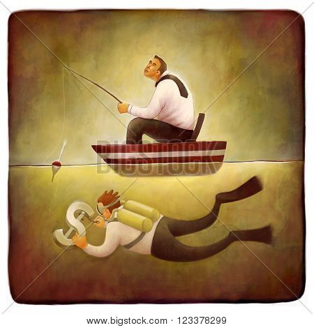 The illustration of a businessman fishing from the boat and a scuba diver hooking the dollar sign
