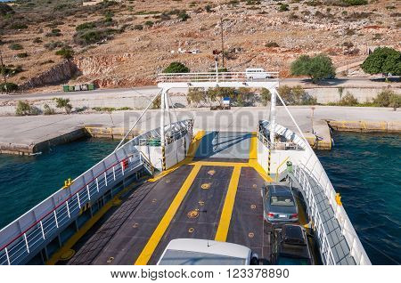 Open ferry shipp ready for loading Zakynthos Greece