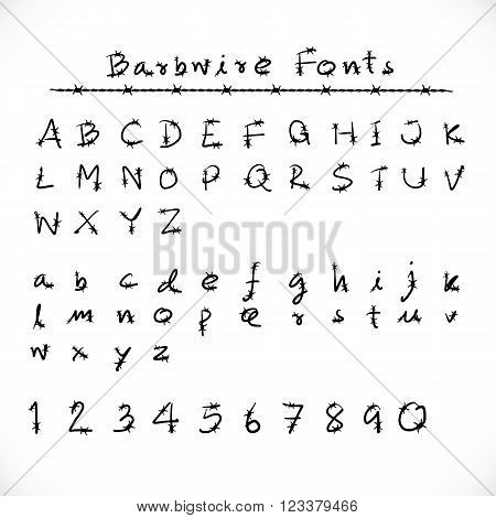 Barbed Wire Alphabet and Fonts.Number alphabet barbwire font style. Vector illustration.
