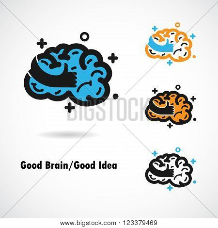 Creative brain logo design vector icon with best hand sign.Best ideagood braingood idea sign.Education and business logotype concept. Vector illustration