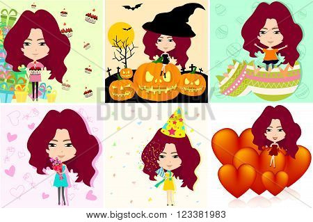 Festive cartoon girl in different international holiday and celebration in various background pattern set create by vector