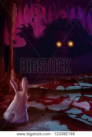 Cartoon illustration of white rabbit bunny confronting a scary monster with glowing eyes and sharp claw with blood on the ground in the dark cavern