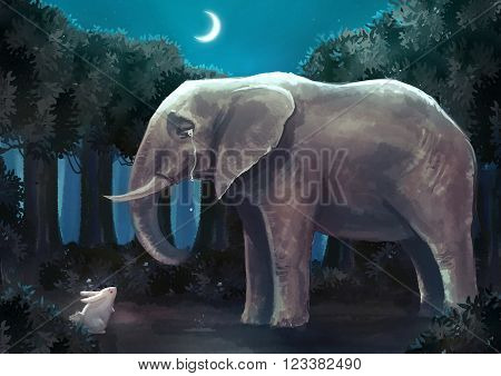 Cartoon illustration of white rabbit bunny is talking with a sad elephant in the forest night scene
