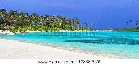 panorama of tropical beach in Maldives islands